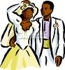 African American Bride and Groom Newlyweds clipart
