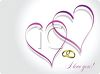 Gold Wedding Bands with Intertwined Hearts and I Love You clipart