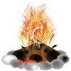 3D Logs in a Rock Fire Ring with Flames clipart