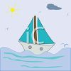 Childlike Drawing of a Sailboat on the Sea clipart