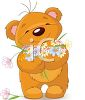 Adorable Cartoon Bear Holding an Armful of Flowers clipart