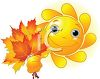 Cartoon of a Fall Sun Holding Autumn Leaves clipart