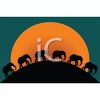 Silhouetted Elephants Walking Over a Hill at Sunset clipart