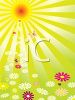 Sunbeams Shining Down on Flowers clipart