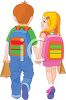 Brother and Sister Holding Hands Walking to School clipart