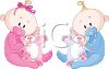 Boy and Girl Twin Babies with Teddy Bears clipart