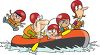 Cartoon of a Family on a Rafting Trip clipart
