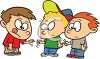 Cartoon of School Friends Playing Rock Paper Scissors clipart