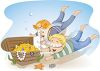 Imagination-Two Boys Finding a Treasure Chest Under the Ocean clipart