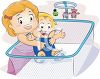 Big Sister Getting Her Baby Brother Out of a Playpen clipart
