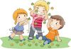 Children Playing in Fall Leaves clipart
