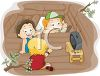Boys Playing In a Tree House Fort clipart