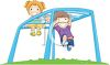 Kids Playing on a Playground Monkey Bars clipart