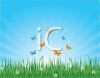 Butterflies Coming Up from the Grass on a Spring Day clipart