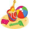 Beach Toys Sitting in the Sand clipart