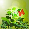 Butterfly Flying Around Green Plants with the Sun Setting clipart
