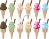 Collage of Different Flavor Ice Cream Cones clipart