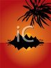 Tropical Island Silhouetted at Sunset with a Palm Tree clipart