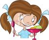 Cartoon of a Little Girl with Pigtails Eating a Dish of Ice Cream clipart