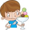 Cartoon of a Cute Little Boy Eating a Dish of Ice Cream clipart