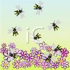 Bees Pollinating Flowers clipart