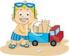 Cartoon of a Little Boy Playing with a Toy Truck at the Beach clipart