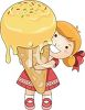 Little Girl Holding a Giant Ice Cream Cone clipart