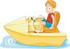 Cartoon of a Little Boy in a Paddle Boat clipart