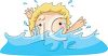 Little Kid Splashing in a Pool clipart