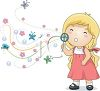 Cute Little Girl Blowing Bubbles clipart