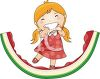 Little Girl Standing on a Watermelon Rind with a Messy Face clipart