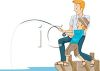 Boy Fishing Off a Pier with His Dad clipart