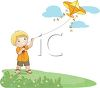 Blond Boy Flying a Kite clipart