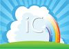 Rainbow Sign with Grass and Clouds clipart