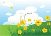 Field of Yellow Flowers and Rolling Hills clipart
