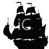 Silhouetted Clipper Ship clipart