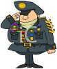 Cartoon Military General with Lots of Medals clipart