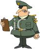 Cartoon of a Military Officer Reading Off a Clipboard clipart