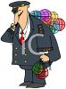 Cartoon of a Ship's Captain Holding a Bag of Buoys clipart