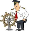 Cartoon of a Boat Captain at the Wheel clipart