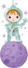 Cute Little Boy Wearing a Space Suit Standing on a Planet clipart