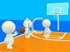 3D Human Figures Playing Basketball on an Indoor Court clipart