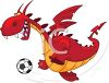 Cartoon of a Dragon Playing Soccer clipart