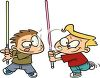 Cartoon of Two Boys Make Believe Sword Fighting clipart