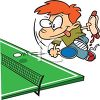 Kid Playing Ping Pong While Eating a Hot Dog clipart
