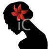 Silhouette of a Woman In Profile with a Flower in Her Hair clipart