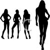 Sexy Silhouettes of Models Posing clipart