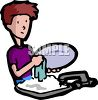 Adolescent Boy Doing Dishes clipart