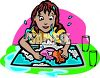 Little Girl Making A Mess Washing Dishes clipart