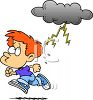 Boy Running from a Black Cloud clipart